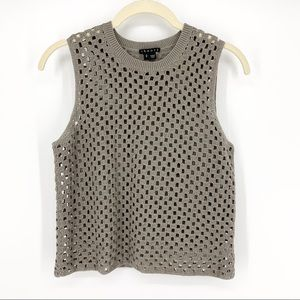 THEORY Tan Open Square Knit Sleeveless Crop Top